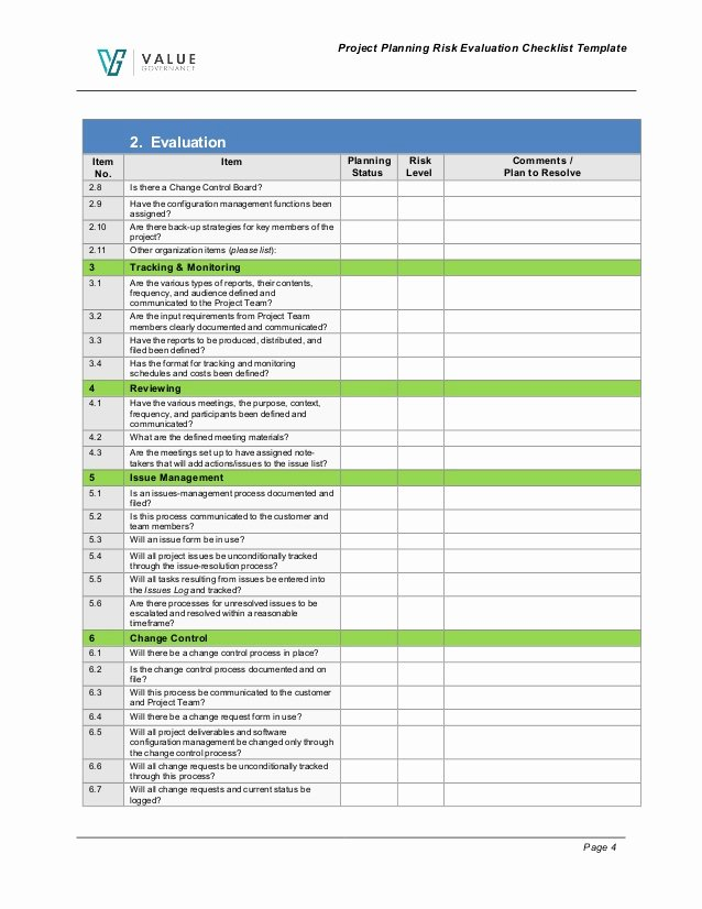 Project Evaluation Plan Template Awesome Pm Pm001 01 Planning Risk Evaluation Checklist