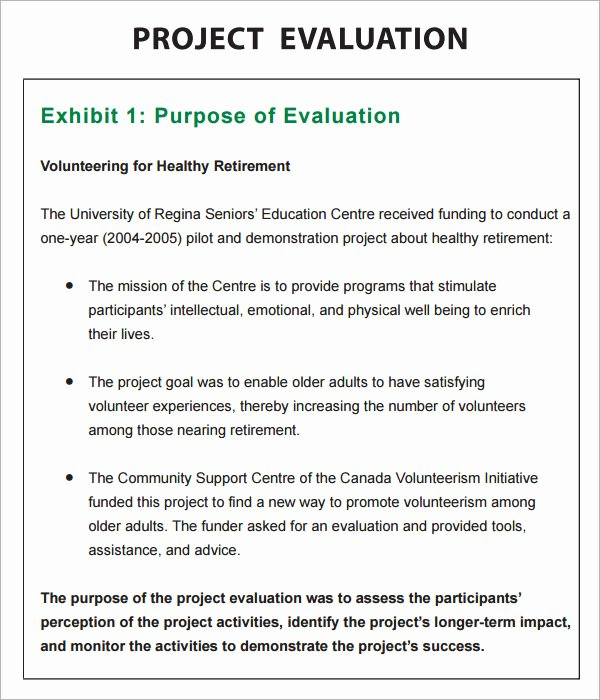 Project Evaluation Plan Template Fresh 9 Sample Project Evaluation Templates to Download