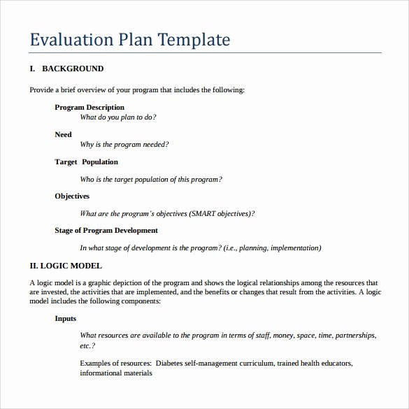 Project Evaluation Plan Template Unique Evaluation Plan 7 Download Free Documents In Pdf Word