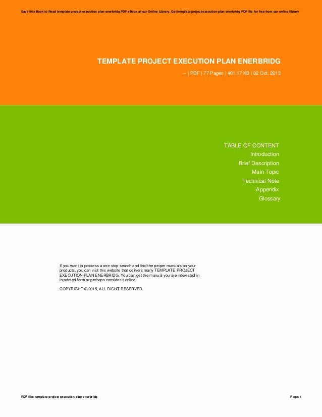 Project Execution Plan Template Awesome Template Project Execution Plan Enerbridg