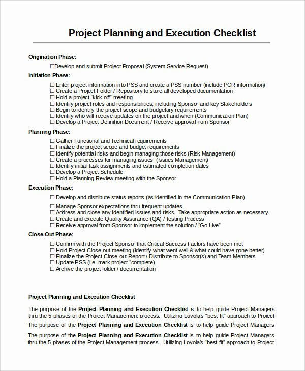 Project Execution Plan Template New 10 Project Checklist Samples & Templates – Pdf Word