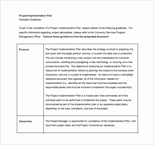 Project Implementation Plan Template Beautiful 12 Implementation Plan Templates – Free Sample Example