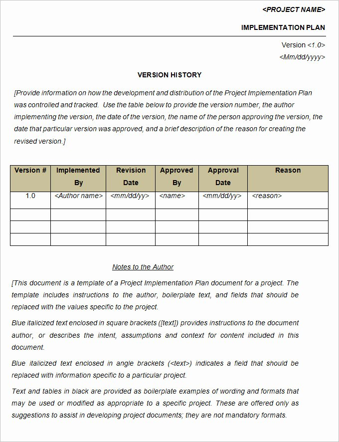 Project Implementation Plan Template Beautiful Project Implementation Plan Template 5 Free Word Excel