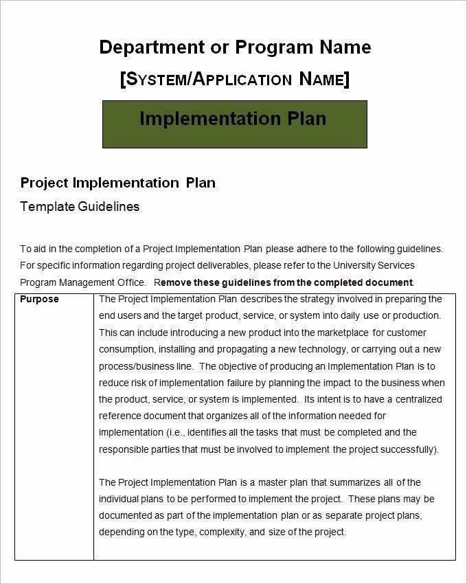 Project Implementation Plan Template Elegant Project Implementation Plan Template 5 Free Word Excel