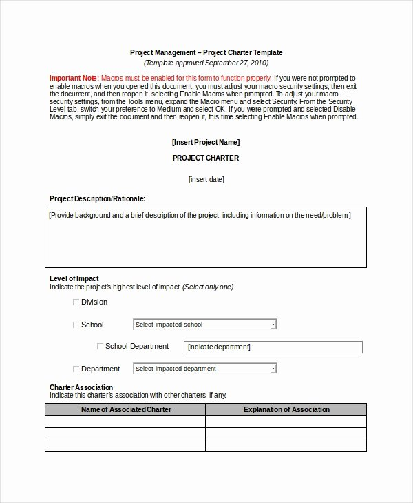 Project Management Charter Template Best Of Project Charter Template 10 Free Word Pdf Documents
