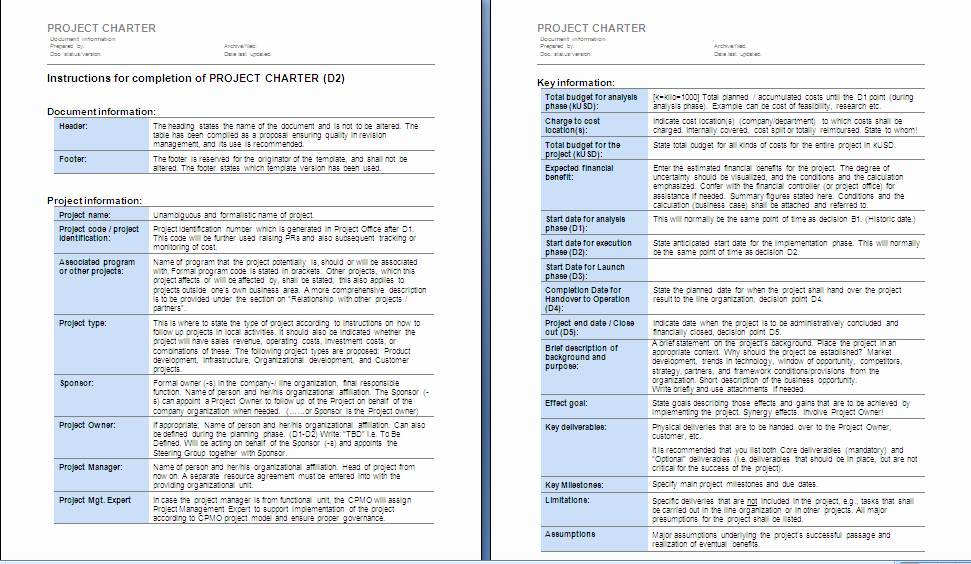 Project Management Charter Template Elegant Project Management Project Charter Sample 1