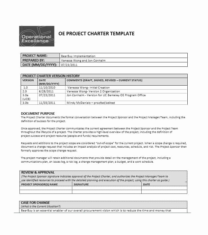 Project Management Charter Template Lovely 40 Project Charter Templates & Samples [excel Word