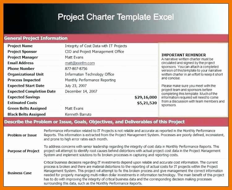 Project Management Charter Template Unique 12 13 Pmbok Project Charter Examples