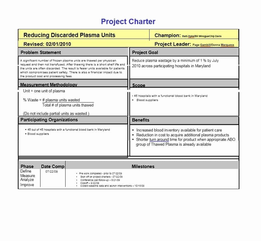 Project Management Charter Template Unique 40 Project Charter Templates & Samples [excel Word