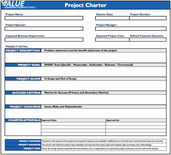 Project Management Charter Template Unique Reporting – Value Generation Partners Vblog