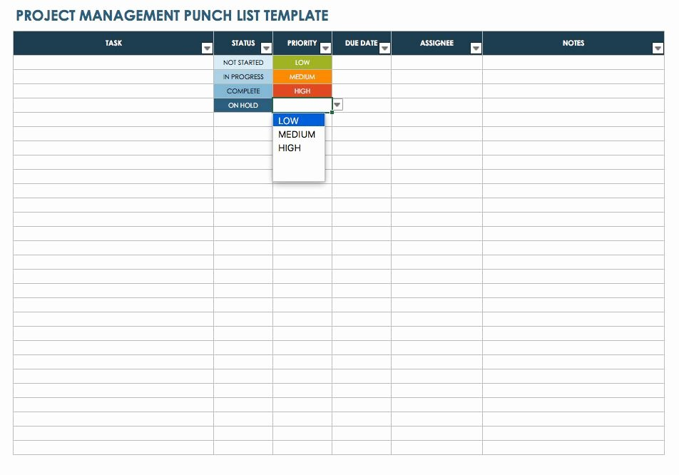 Project Management Checklist Template Elegant Free Punch List Templates
