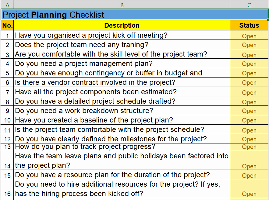 Project Management Checklist Template New Project Management Checklist Excel Template Free