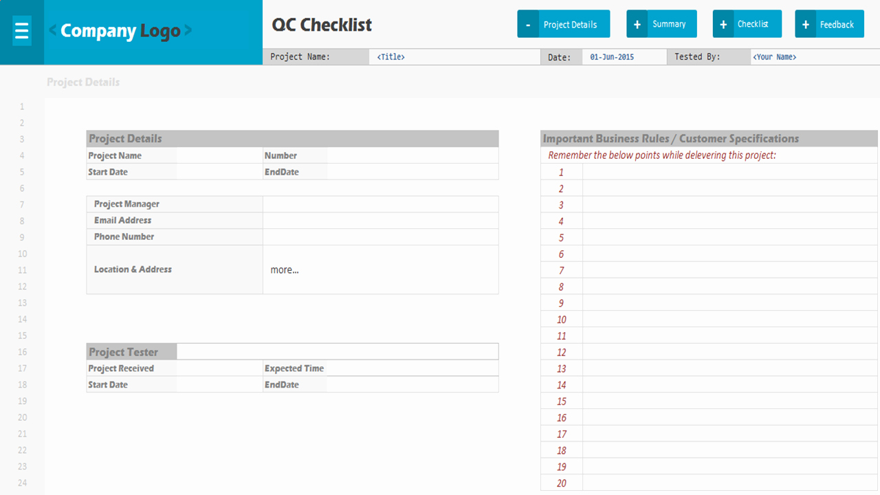 Project Management Checklist Template Unique Qc Checklist Excel Project Management Templates