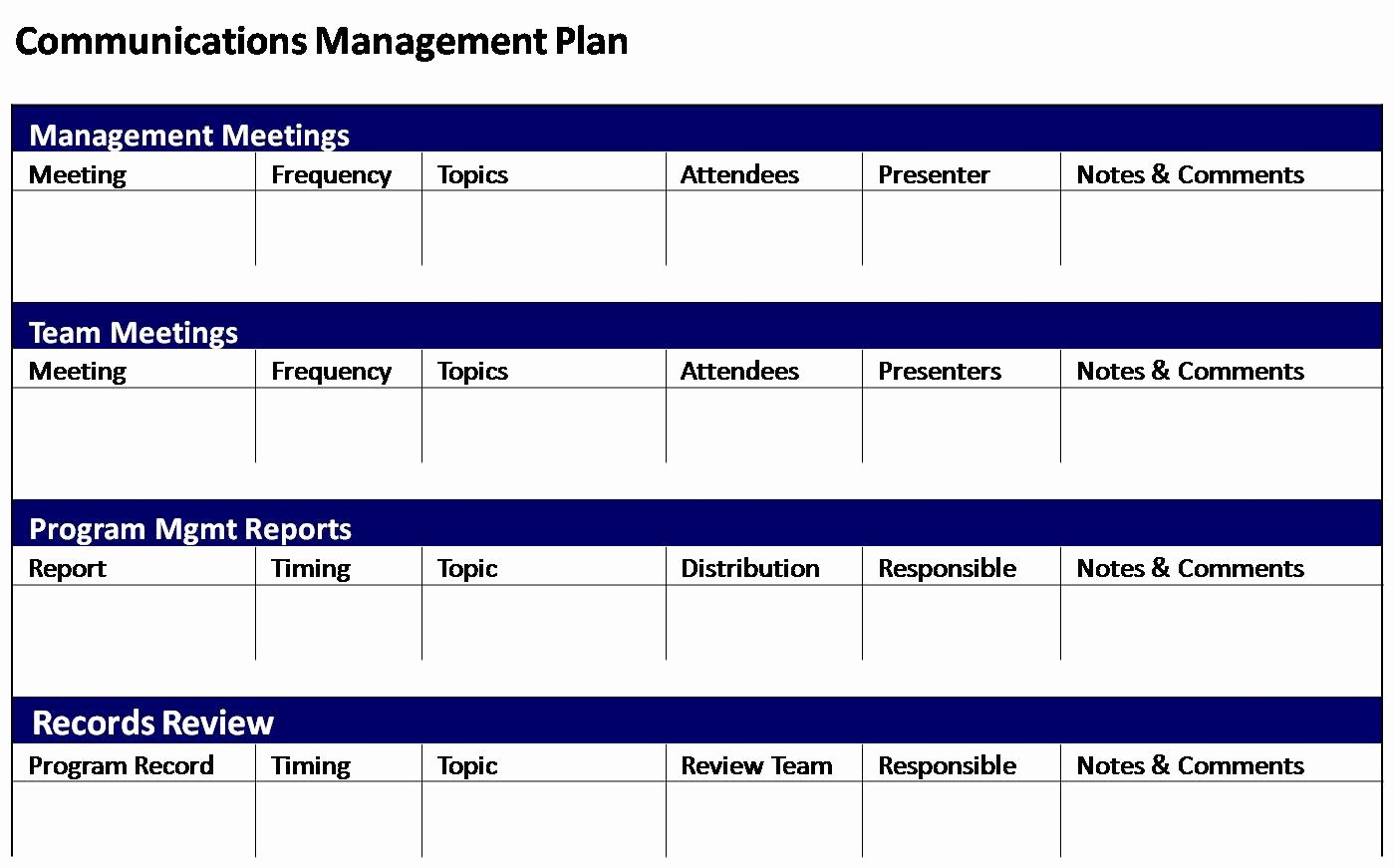 Project Management Communication Plan Template Awesome 29 Of Template Munications Management Plan