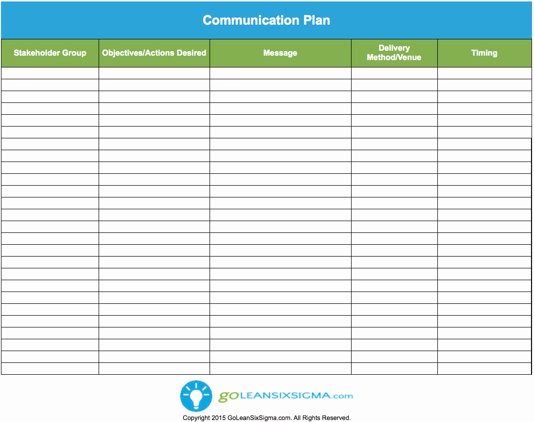 Project Management Communication Plan Template Fresh Munication Plan Template Goleansixsigma