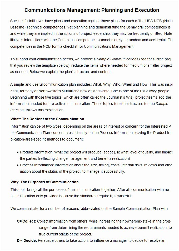 Project Management Communication Plan Template Inspirational 10 Project Management Munication Plan Templates