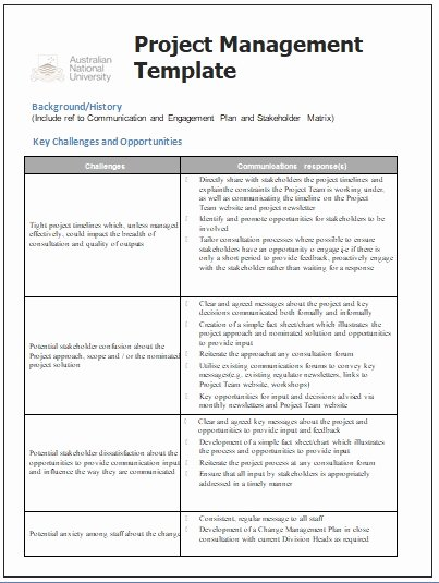 Project Management Communication Plan Template New Project Management Templates