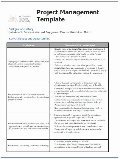 Project Management Communication Plan Template New Project Management Templates