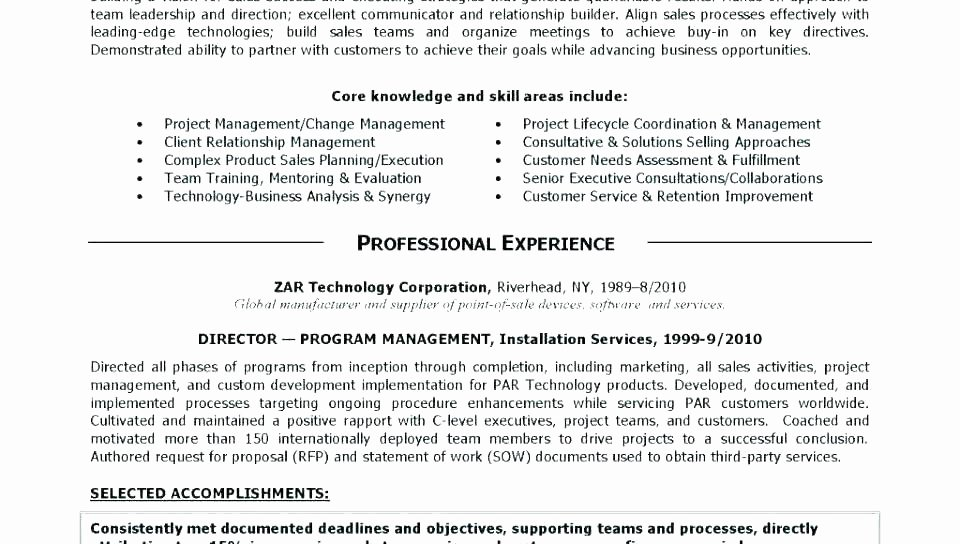 Project Management Executive Summary Template Awesome Fresh Project Management Summary Example Resume Template