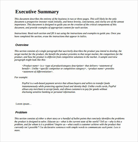 Project Management Executive Summary Template Beautiful 31 Executive Summary Templates Free Sample Example