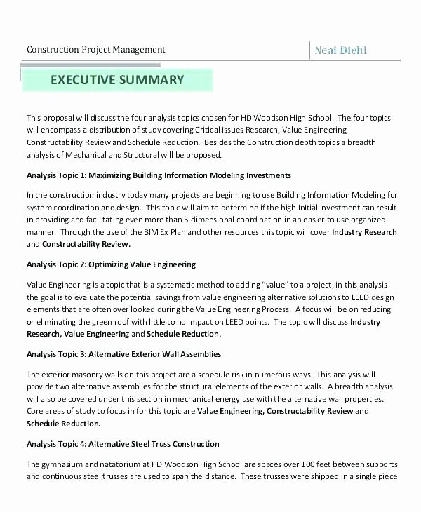 Project Management Executive Summary Template Fresh Business Proposal Executive Summary Template Construction