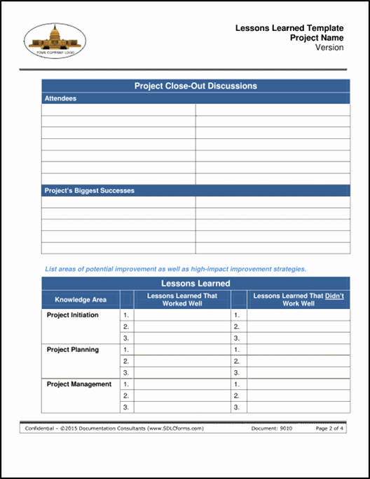 Project Management Lessons Learned Template Beautiful Sdlcforms Lessons Learned Template