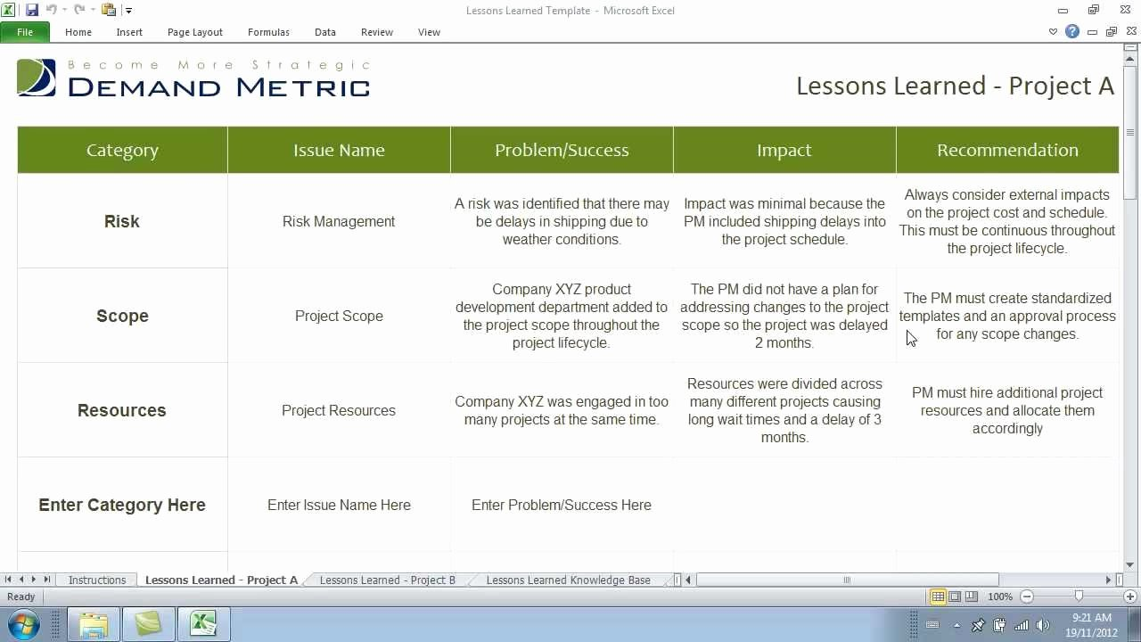 Project Management Lessons Learned Template Inspirational Lessons Learned Template