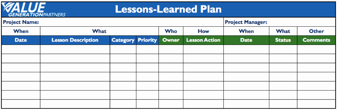 Project Management Lessons Learned Template Lovely Project Management – Value Generation Partners Vblog