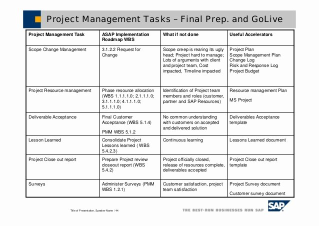 Project Management Lessons Learned Template Lovely Sap solution Manager