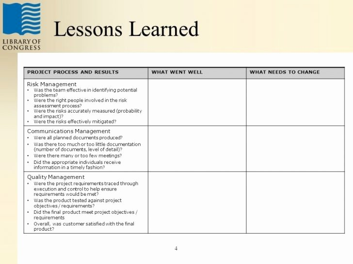 Project Management Lessons Learned Template Luxury Lessons Learned Template Gameisus – Lessons