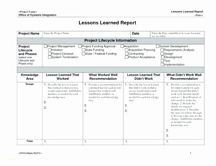Project Management Lessons Learned Template Unique Project Lessons Learned Document Template Lesson