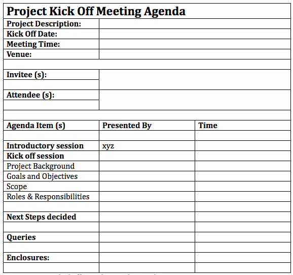 Project Management Meeting Agenda Template Elegant How to Successfully Lead A Project Kickoff Meeting