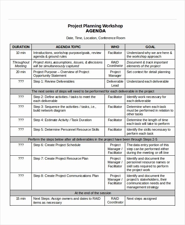Project Management Meeting Agenda Template Fresh Project Agenda Template 6 Free Word Pdf Documents