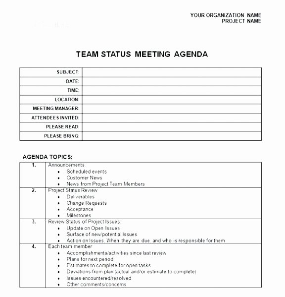 Project Management Meeting Agenda Template Lovely Steering Mittee Agenda Template Project Management