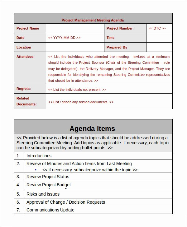 Project Management Meeting Agenda Template Luxury Project Management Template 10 Free Word Pdf Documents