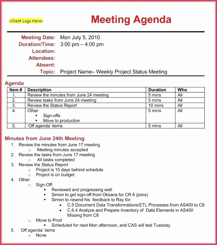 Project Management Meeting Agenda Template New Status Meeting Template – Vitaesalute