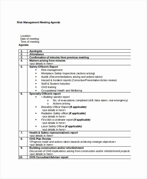 Project Management Meeting Agenda Template Unique Management Meeting Agenda Template – 10 Free Word Pdf