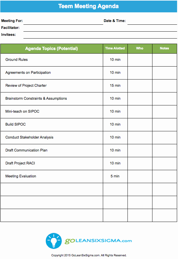 Project Management Meeting Agenda Template Unique Team Meeting Agenda Goleansixsigma