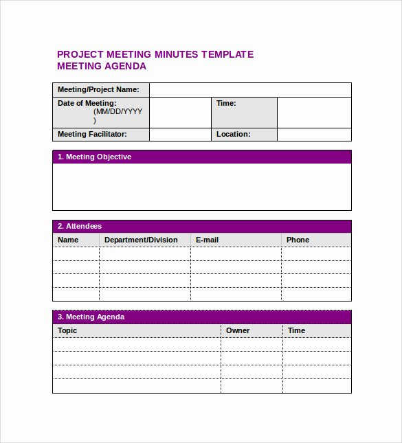 Project Management Meeting Minutes Template Awesome Project Meeting Minutes Template 9 Download Free