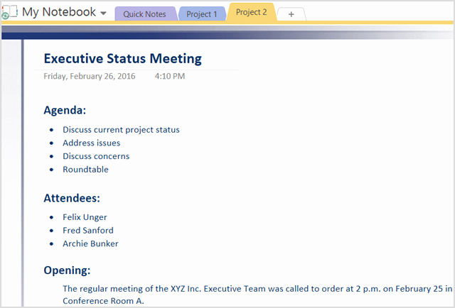 Project Management Meeting Minutes Template Elegant How to Adopt Enote Templates for Project Management