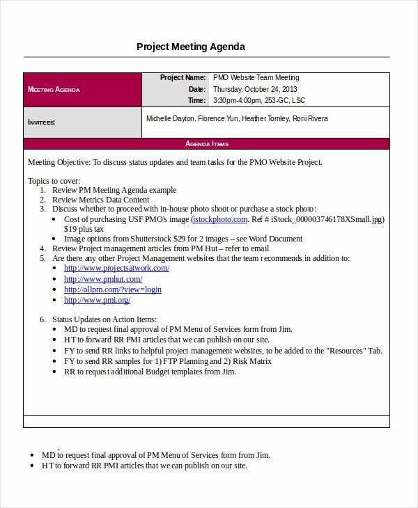 Project Management Meeting Minutes Template Fresh Project Agenda Template 6 Free Word Pdf Documents