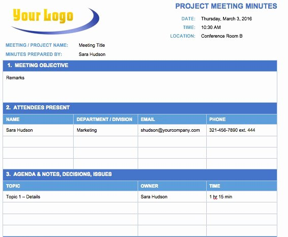 Project Management Meeting Minutes Template Lovely Free Meeting Minutes Template for Microsoft Word