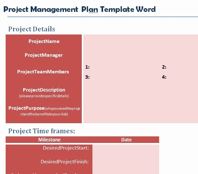 Project Management Plan Template Word Elegant Professional Project Plan Template Word