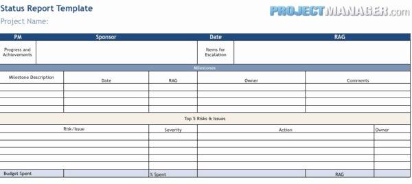 Project Management Progress Report Template Fresh Status Report Template Projectmanager