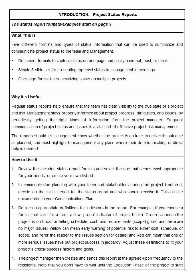 Project Management Progress Report Template Unique Sample Project Status Report Template 10 Free Word Pdf