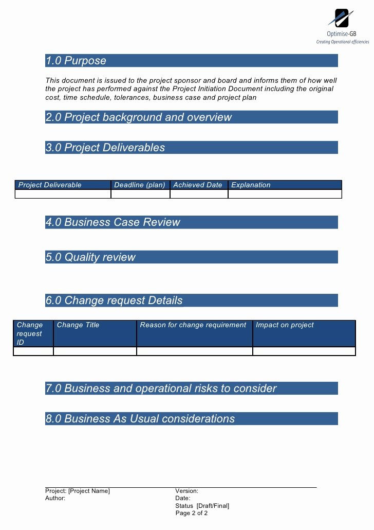 Project Management Report Template Beautiful Project End Report Project Management Template