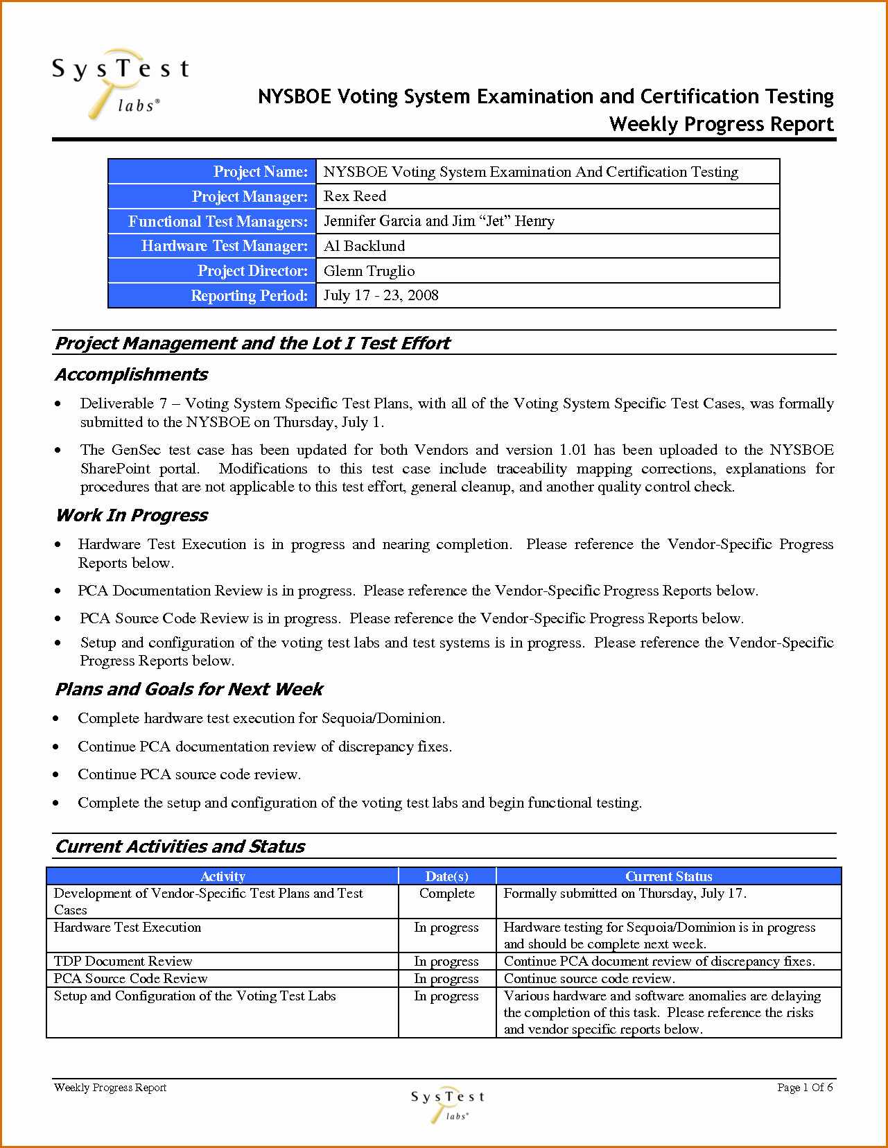 Project Management Report Template Elegant 12 Weekly Progress Report Template