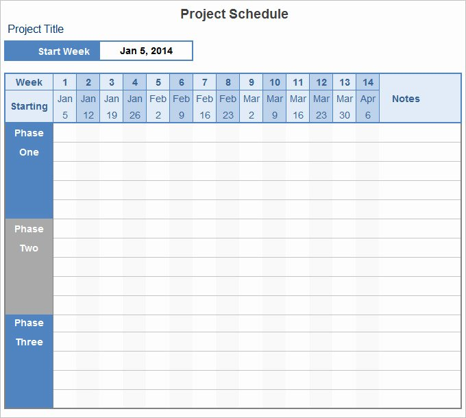 Project Management Schedule Template New Project Schedule Template 14 Free Excel Documents