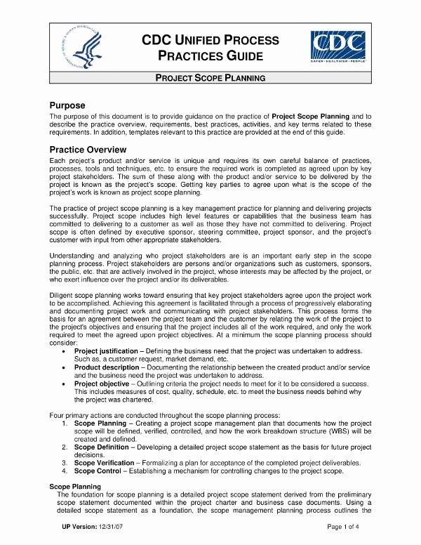 Project Management Scope Template Beautiful 14 Scope Management Plan Examples Pdf