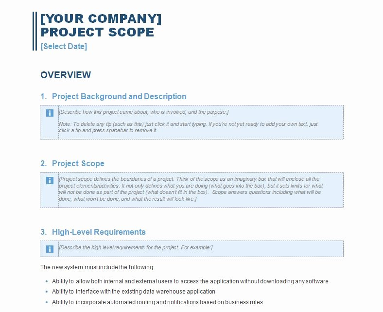 Project Management Scope Template Beautiful Project Scope Report